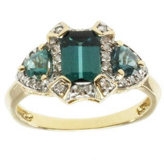 Michael Valitutti 14k Yellow Gold Teal Tourmaline and Diamond Ring
