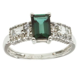 Michael Valitutti 14k White Gold Green Tourmaline and Baguette-cut Diamond Ring