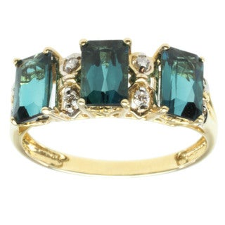 Michael Valitutti 14k Yellow Gold Indicolite and Diamond Ring