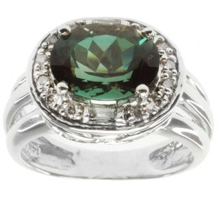 Michael Valitutti 14k White Gold Emerald Sunstone and Diamond Ring