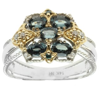 Michael Valitutti 14k Two-tone Gold Color Change Garnet and Diamond Ring