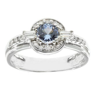 Michael Valitutti 18k White Gold Ceylon Sapphire and Diamond Ring