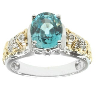 Michael Valitutti 14K Two-tone Gold Blue Zircon and Diamond Fashion Ring