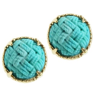 Michael Valitutti 14k Yellow Gold Carved Sleeping Beauty Turquoise Earrings