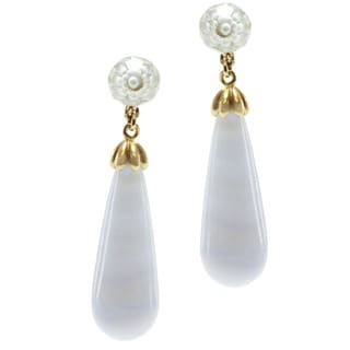 Michael Valitutti 14k Yellow Gold Blue Lace Agate and Cubic Zirconia Earrings