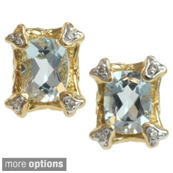 Michael Valitutti 14k Yellow Gold Aquamarine or Rhodolite and Diamond Earrings
