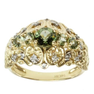 Michael Valitutti 14k Yellow Gold Tashmarine and Diamond Ring