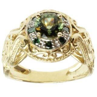 Michael Valitutti 14k Yellow Gold Tashmarine and Green Diamond Ring