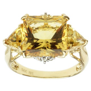 Michael Valitutti 14k Yellow Gold Yellow Beryl and Diamond Ring