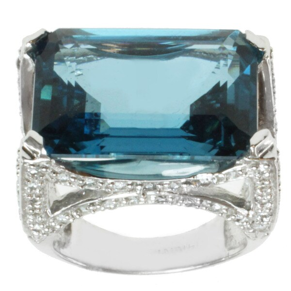 Michael Valitutti 14k White Gold London Blue Topaz and Diamond Ring