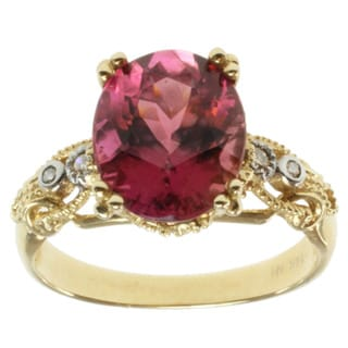 Michael Valitutti 14k Yellow Gold Pink Tourmaline and Diamond Ring