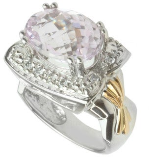 Michael Valitutti 14k Two-tone Gold Kunzite and Diamond Ring