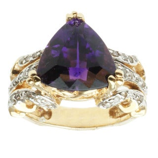 Michael Valitutti 14K Yellow Gold Triangle-cut Amethyst and Diamond Ring