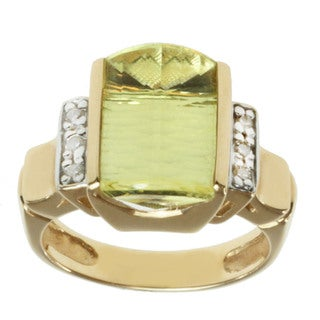 Michael Valitutti 14K Yellow Gold Fancy-cut Oro Verde and Diamond Ring