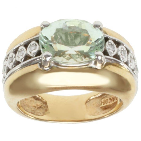 Michael Valitutti 14k Two-tone Gold Sea Foam Tourmaline and Diamond Ring