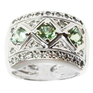 Michael Valitutti 14k White Gold Green Tourmaline and Diamond Ring