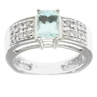 Michael Valitutti 14K White Gold Prong-set Aquamarine and Diamond Ring