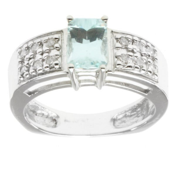 M.V. Jewels 14K White Gold Prong-set Aquamarine and Diamond Ring