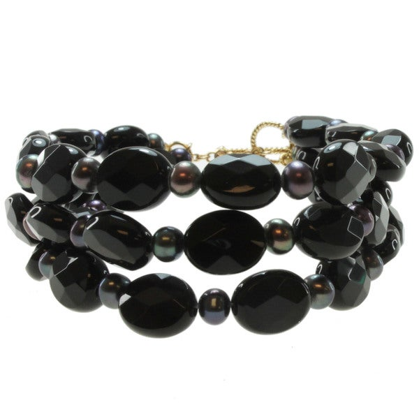 Michael Valitutti 14k Yellow Gold Black Onyx and Freshwater Pearl Bracelet (3.5-4 mm)