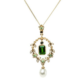Michael Valitutti 14k Yellow Gold Chrome Diopside, Tsavorite, Pearl and Black Diamond Necklace