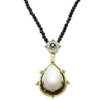 Michael Valitutti 14k Yellow Gold Cachalong, Black Spinel and White and Black Diamond Necklace