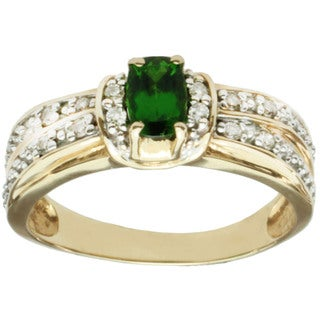 Michael Valitutti 14K Yellow Gold Chrome Green Diopside and Diamond Ring