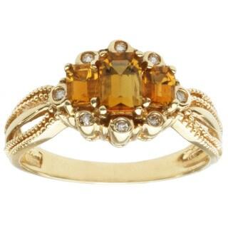 Michael Valitutti 14k Yellow Gold Tsavana Tourmaline and Diamond Ring