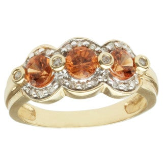 Michael Valitutti 14k Yellow Gold Spessartite and Diamond Ring