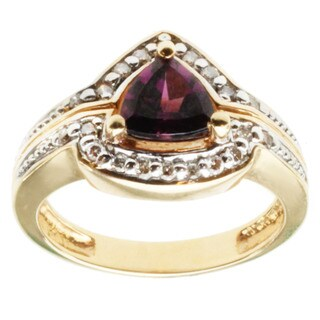 Michael Valitutti 14k Yellow Gold Grape Garnet and Diamond Ring