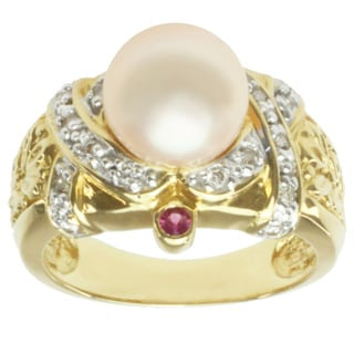 Michael Valitutti 18k Yellow Gold Peach Freshwater Pearl, Pink Sapphire and Diamond Ring (9-10 mm)