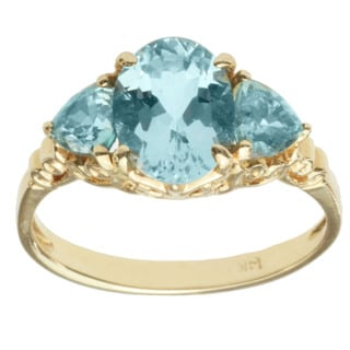 Michael Valitutti 14k Yellow Gold Santa Maria Aquamarine, Blue Zircon Ring