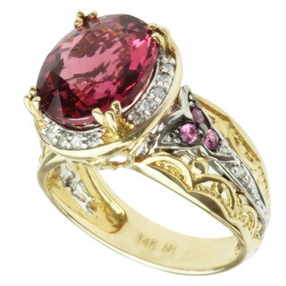 Michael Valitutti 14k Two-tone Gold Pink Tourmaline, Pink Round-cut Sapphire and Diamond Ring