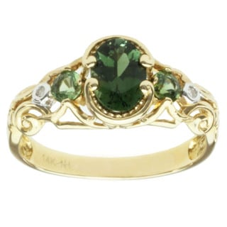 Michael Valitutti 14k Yellow Gold Green Tourmaline and Diamond Ring