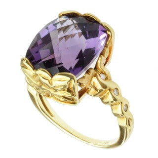 Michael Valitutti 18k Yellow Gold Amethyst and Diamond Ring