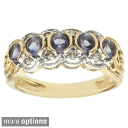 Michael Valitutti 14k Two-tone or White Gold Peridot, Iolite or Aqua Tourmaline and Diamond Ring