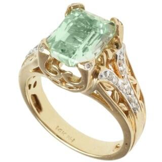 Michael Valitutti 14k Yellow Gold Hiddenite and Diamond Ring