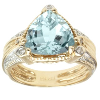 Michael Valitutti 14K Yellow Gold Triangle-cut Aquamarine and Diamond Ring