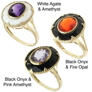 Michael Valitutti 10k Yellow Gold Amethyst or Fire Opal and Onyx or Agate Ring