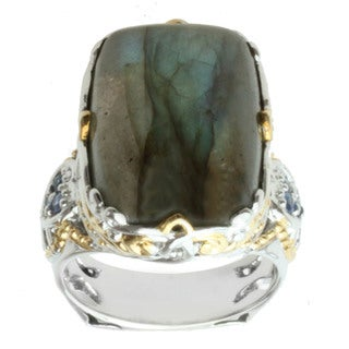 Michael Valitutti Two-tone Cushion-cut Labradorite and Blue Sapphire Ring