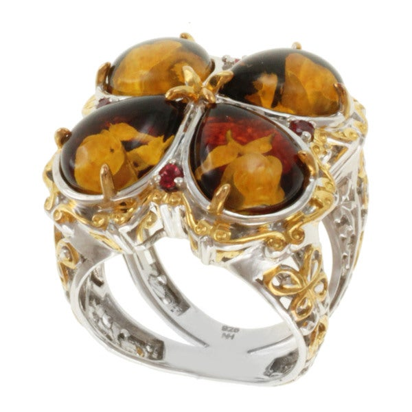 Michael Valitutti Two-tone Carved Amber and Orange Sapphire Ring