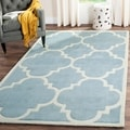 Handmade Moroccan Blue-and-Ivory Wool Rug (4' x 6')