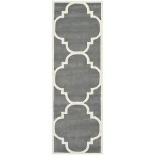 Safavieh Handmade Moroccan Dark Grey Runner Wool Rug (2'3 x 7')