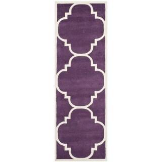 "Safavieh Geometric Handmade Moroccan Purple Wool Rug (2'3"" x 7')"