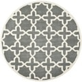 Cross Pattern Handmade Moroccan Dark Grey Wool Rug (7' Round)
