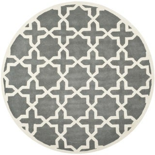 Safavieh Cross Pattern Handmade Moroccan Dark Grey Wool Rug (7' Round)