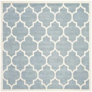 "Handmade Moroccan Blue Wool Area Rug (8'9"" Square)"
