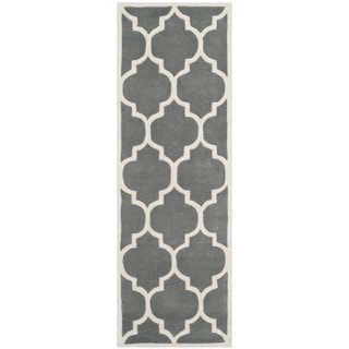 Safavieh Handmade Moroccan Dark Grey Geometric Pattern Wool Rug (2'3 x 7')