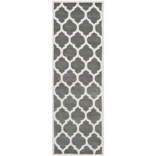 Safavieh Handmade Moroccan Chatham Dark Grey Wool Rug (2'3 x 7')