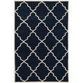 Handmade Hand-Tufted Moroccan Dark Blue Wool Rug (5' x 8')