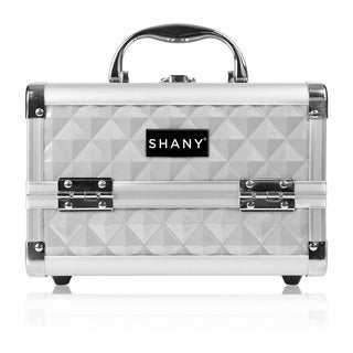 Shany Silver Makeup Train Case with Mirror